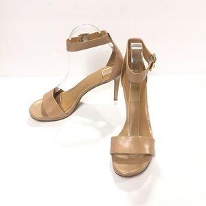 Nine West Meantobe Leather Heeled Tan Sandal 8M
